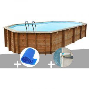 Sunbay Kit piscine bois Sevilla 8,72 x 4,72 x 1,46 m + Bâche à bulles + Alarme