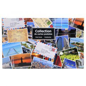 Exacompta 96116E - Classeur cartophilique garni de 50 feuillets/400 cartes postales 11,7x17, 2 anneaux, couverture rigide