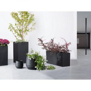 Beliani Cache-pot de fleurs - noir - pot de jardin - 21x21x22 cm - Lomond