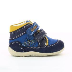 Kickers Baskets montantes cuir Bins Bleu Jaune - Taille 18;19;20;21