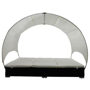 VidaXL 40460 - Lit de jardin double résine tressée avec parasol