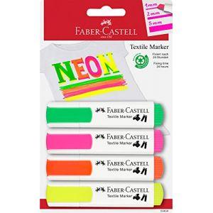 Faber-Castell Marqueur tissu, couleurs fluo, blister de 4 - Lot de 4