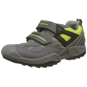 Geox J New Savage A, Sneakers Basses Garçon, Gris (DK Grey/Lime), 37 EU