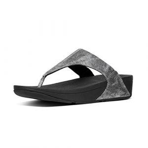 FitFlop Lulu Shimmer Impression Womens Orteil Post Sandales 7 UK/41 EU Black Shimmer Print