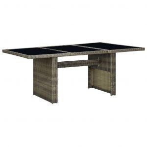 VidaXL Table de jardin Marron Résine tressée et verre trempé