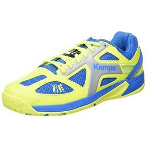 Kettler Kempa Wing Junior, Chaussures de Handball Garçon, Bleu (Bleu Cendré/Jaune Spring), 37 EU