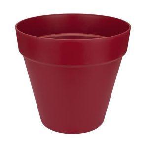 Loft URBAN Pot de fleur rond - 50 cm - Fruits rouges - Livré avec réservoir d'eau - Fabriqué en plastique - Facile à nettoyer - Résiste aux chocs - Avec roulettes
