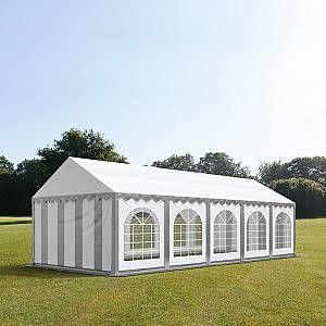 Intent24 TOOLPORT Tente Barnum de Réception 4x10 m ignifugee PREMIUM Bâches Amovibles PVC 500 g/m² gris-blanc Cadre de Sol Jardin.FR
