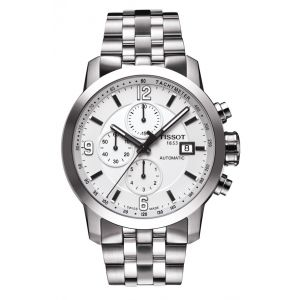 Tissot Montre PRC 200 automatique chronographe cadran blanc bracelet acier 44 mm