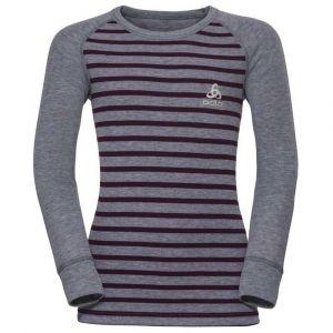 Odlo Vêtements intérieurs Shirt L/s Crew Neck Warm Kids - Grey Melange / Pickled Beet / Stripes - Taille 140