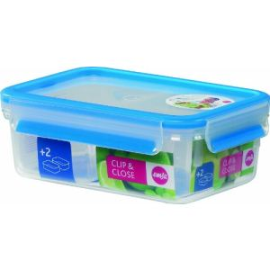 Emsa Boîte alimentaire Clip and Close avec 2 compartiments (1 L)