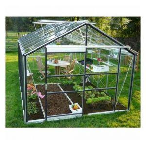 ACD Serre de jardin en verre trempé Royal 28 - 13,84 m², Couleur Noir, Filet ombrage oui, Ouverture auto 1, Porte moustiquaire Oui - longueur : 5m94