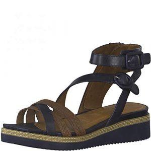 Tamaris Femme Sandales, Dame Sandale à lanières,Touch It,Sandale,Chaussure d'été,Sandale d'été,Confortable,Plate,Navy/Nut,36 EU / 3.5 UK