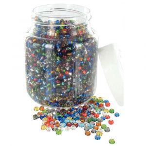 Bocal de 500g de perles cassis (roc 5°) métal brillant. Coloris assortis.