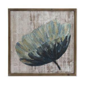 NATURE Tableau déco bois métal - 80 x 80 x 4 cm - Décoration murale bois métal 80x80x4cm