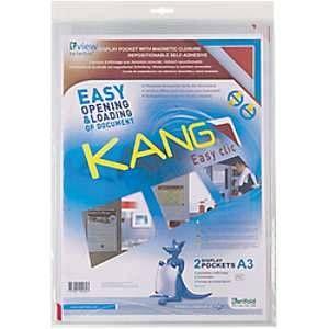 Tarifold Enveloppe pochette murale PVC A3 Transparent Sachet de 3