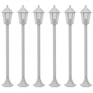VidaXL Lampe de jardin à piquet 6 pcs E27 110 cm Aluminium Blanc