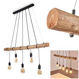 Hofstein Suspension Seegaard en métal noir et bois pour 5 ampoules E27 max. 60 Watts, compatible LED, luminaire suspendu au style à la fois moderne et rétro