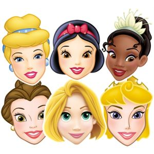 6 masques Princesse Disney