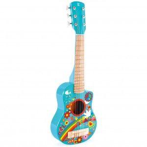 Hape E0600-Instrument de Musique Mini-Guitare Flower Power Jouets en Bois, E0600, Multicolore, Taille Unique