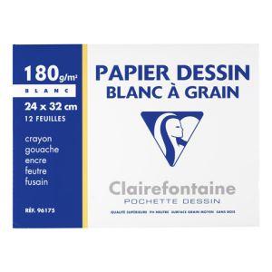 Clairefontaine 96175C - 12 Feuilles de papier dessin 180 g (A4+)