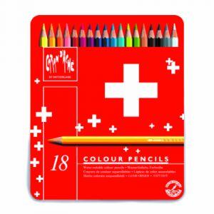 Caran d'Ache Boîte de 18 crayons de couleurs aquarellables Swisscolor