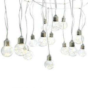 Gadgy ® Guirlande Lumineuse | 25 Ampoules avec Fil de Cuivre | LED Blanc Chaud | Globe Plastique Transparent | 10 Mètres de Long | Décoration Jardin Intérieur Extérieur Guinguette