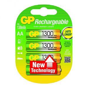 GP Batteries 4 piles rechargeables AA LR06 1300 mAh NiMH