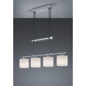 Trio Suspension Garda à 4 lampes, abat-jour tissu blanc