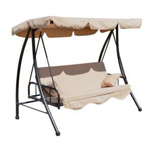 Homcom Balancelle balançoire 2 places convertible en lit double de jardin