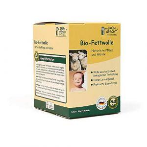 Grünspecht 638-00 Graisse laine, KBT, rohwolle, laine de mouton à haute teneur Lanoline Bio pour soin de la peau et bébé, 50 g, beige
