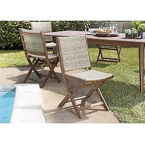 Lot de 2 chaises pliantes Acacia et rotin