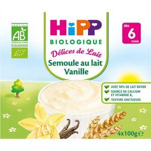 HiPP Biologique Délices de Lait : Semoule au lait Vanille 4 x 100g - dès 6 mois
