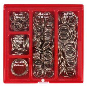 APLI 00088 - Boîte présentoir de 330 anneaux métalliques articulés 5 diamètres