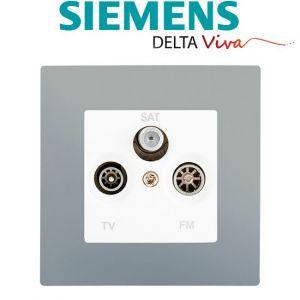 Siemens Prise TV FM SAT Blanc Delta Viva + Plaque Silver