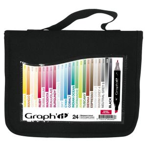Graph'it Trousse de 24 marqueurs à alcool - Basic Colors