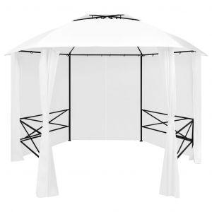 VidaXL Chapiteau de jardin avec rideaux 360x312x265 cm Blanc 180 g/m²