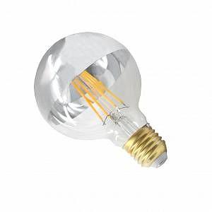 Silamp Ampoule E27 LED Filament Dimmable 8W G125 Globe Reflect Vintage CLAIR Top Argent - couleur eclairage : Blanc Chaud 2300K - 3500K