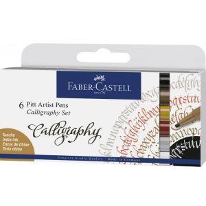 Faber-Castell 167506 Pitt Artist Pen Calligraphy Lot de 6 stylos de Calligraphie Multicolore 2,5 mm