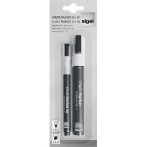 Sigel GL176 - Lot de 2 marqueurs à craie liquide, pointe 1-5 mm et pointe 5-15 mm, blanc