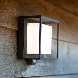 Lutec 6934601118 Curtis Applique murale solaire LED 300 lm 3 W 3000 K Détecteur de mouvement Lampe extérieure LED Montage mural moderne Gris 19 x 16,5 cm