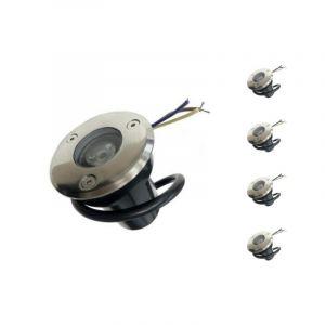 Silamp Spot Extérieur Encastrable LED IP65 220V Sol 3W 45° (Pack de 5) - Blanc Chaud 2300K - 3500K -