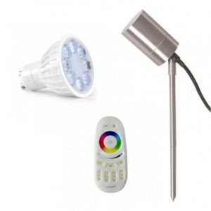 Vision-El PACK Projecteur Piquet LED Inox 230V + Spot GU10 RGB+W + Télécommande Tactile - Eclairage Jardin