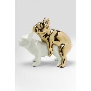 Kare Design Kare Statuette décorative Design « Love Dogs » - Chien doré et Blanc en Porcelaine - Objet de décoration Amusant - Figurine de Chien - Accessoires (h x l x p) : 17 x 11 x 20 cm