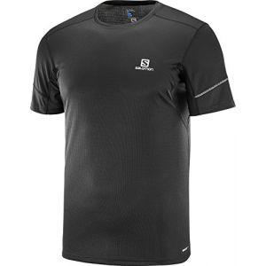 Salomon Homme T-Shirt de Sport à Manches Courtes, Agile SS Tee, Jersey Double, Noir, Taille S, L40209900