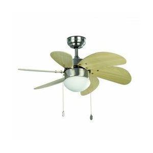 Plafonnier-ventilateur Palao 6 pales en nickel (82 cm)