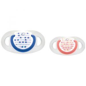 Bébé Confort Lot de 3 sucette dental safe 18/36m silicone - 2 + 1 OFFERTE 2 bleues + 1 rouge