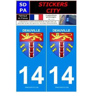 """SDPA SC14 - 2 autocollants pour plaque d'immatriculation """"Deauville"""""""