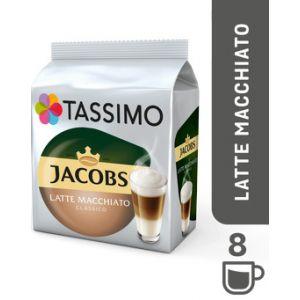 Image de Bosch Tassimo Jacobs Latte Macchiato Classico, Café, Café au Lait, Capsules, 16 T-Discs (8 Portions)