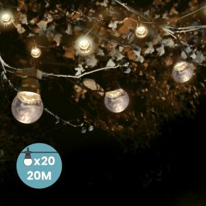SkyLantern Guirlande Guinguette 20M Transparente - Guirlande Guinguette Exterieure de 20M + 3M de cable 10